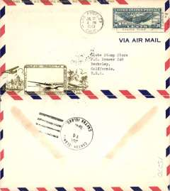 (United States) Scarcer Crosby cacheted Pan Am Trans-Pacific F/F FAM 19, Los Angeles to Canton Island, b/s, fine gold Crosby cachet, official flight cachet, airmail cover. Popular with collectors, but not easy to find.