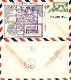 (Hawaii) Scarcer Crosby cacheted Pan Am Trans-Pacific F/F FAM 19, Honolulu to Noumea, b/s, fine blue Crosby cachet, official flight cachet, airmail cover. Popular with collectors, but not easy to find.