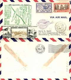 (New Caledonia) Scarcer Crosby cacheted Pan Am Trans-Pacific F/F FAM 19, Noumea to Honolulu, b/s, fine black Crosby cachet, official flight cachet, airmail cover. Popular with collectors, but not easy to find.