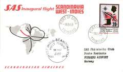 (Trinidad) SAS Inaugural Scandinavia-West Indies service, F/F Port of Spain-Oslo, cachet, b/s, souvenir card.