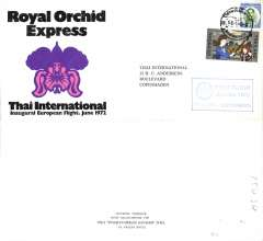 (Thailand) Thai Airways International, Royal Orchid Service, F/F Bangkok-Copenhagen, no arrival ds,  company cachet, official dated souvenir cover.