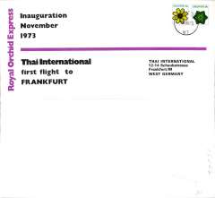 (Singapore) Thai Airways International, Royal Orchid Service, F/F Singapore-Frankfurt, no arrival ds, official dated souvenir cover.