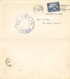 "(Haiti) New York Rio and Buenos Aires Airline, F/F Port au Prince to Antigua, bs St Johns 8/3, blue double circle ""Premier Vol NYRBA"" cachet, plain cover,"