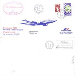 (French Reunion) First direct flight St. Dennis (Reunion) to Lyon, cachet, b/s, long souvenir cover, Air France.