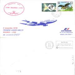 (Mauritius) First direct flight Port Louis (Mauitius) to Lyon, cachet, b/s, long souvenir cover, Air France.