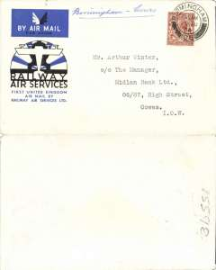 (GB Internal) Railway Air Service F/F Birmingham to Cowes, official cover, no b/s.