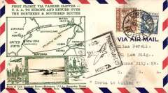 (Azores) Scarcer Crosby cacheted Pan Am Yankee Clipper Trans-Atlantic F/F via Southern route, Horta to Lisbon, bs 21/5, fine green Crosby cachet, official Horta-Lisbon flight cachet, airmail cover. Popular with collectors, but not easy to find.