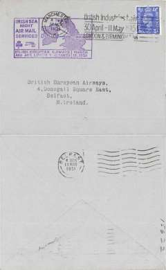 (GB Internal) BEA F/F Irish sea night air mail service, Manchester to Belfast, bs 13/3, plain cover franked 2 1/2d, official purple cachet.