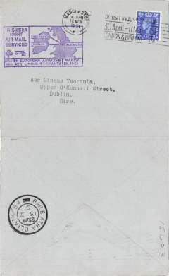 (GB Internal) BEA F/F Irish sea night air mail service, Manchester to Dublin, bs 13/3, plain cover franked 2 1/2d, official purple cachet.