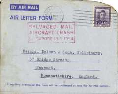 "(Recovered Interrupted Mail) BOAC Lockheed Constellation crash at Singapore, en route from Auckland, New zealand to England, imprint etiquette air letter, franked 8d, canc 11 Mr 54 cds, fine red boxed ""Salvaged Mail/Aircraft Crash/Singapore 13.3.1954"" cachet, Ni 540313aa.  A 200 word accident description accompanies this item."