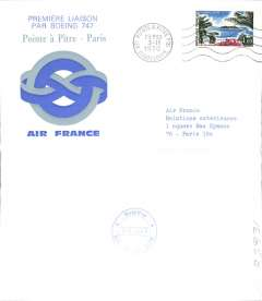 (Guadeloupe) Air France, F/F Pointe a Pitre-Paris, & return, two souvenir covers with bs's.