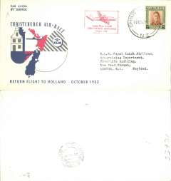 (New Zealand) Christchurch Air Race, Special Flight, Christchurch to Amsterdam, b/s, souvenir cover, KLM