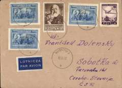 (Poland) Early post war flown cover, Waebrzych, Poland to Turunvske, Czechoslovakia, no arrival ds, franked 3z perf and 12z imprf, dark blue/white etiquette