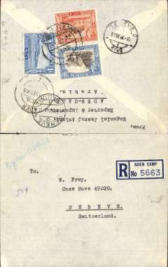 (Aden) Registered (Aden Camp label) commercial air cover to Geneva, bs 31/12, franked KGVI 14,8,1 annas, ms ' By Airmail'