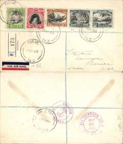 (Cook Islands) Cooks Islands to USA, registered (label) flown cover to Tampa, Florida, bs 1/6, via San Francisco 29/5, franked 1932 set 1/2d,1d,2d,3d,4d, canc Niue cds, tied red/white/blue Pan Am etiquette. Trans Pacific, nice routing, uncommon origin.