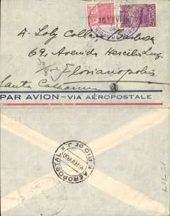(Brazil) Aeropostale company cover carried on internal flight Rio-Florianopolis, bs 15/2, franked 800r, canc violet oval double ring Correo Aereo/Rio de Janeiro aero plane postmark. On 14/2/30 Aeropostale established subsidiary Companhia Aeronautica Basilera (CAB) for internal flights. Non invasive 3mm trim left hand edge.