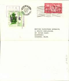 (Channel Islands) Extension of BEA letter service to the Channel Islands, Alderney-Guernsey, franked QE 2 1/d, also BEA 6d stamp surcharged 1d to make up new rate of 7d, tied by  BEA Alderney dated depart cachet, posted on arrival in Guernsey.