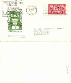 (GB Internal) First day BEA 8d crest in shield label, official cover flown London-Birmingham, franked QEII 2 1/2d, 8d label tied by BEA London dated depart cachet, posted on arrival in Birmingham.