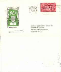 (GB Internal) First day BEA 8d crest in shield label, official cover flown Birmingham-London, franked QEII 2 1/2d, 8d label tied by BEA Birmingham dated depart cachet, posted on arrival in London.
