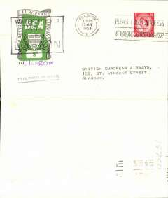 (GB Internal) First day BEA 8d crest in shield label, official cover flown London-Glasgow, franked QEII 2 1/2d, 8d label tied by BEA London dated depart cachet, posted on arrival in Glasgow.