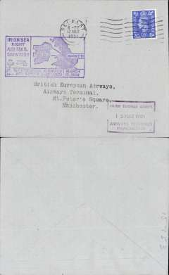 (Ireland) BEA F/F Irish sea night air mail service, Belfast-Manchester, 13/3 airport arrival ds on front, plain cover franked 2 1/2d, official purple cachet.