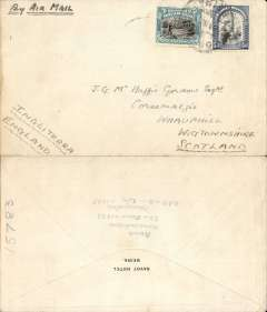 (Mozambique) Early airmail to Wigtownshire, Scotland, ms arrival dated 10/7 verso, Savoy Hotel, Biera envelope, franked Mozambique Company 1e40c and 40c, canc Biera cds, ms 'By Air Mail'. Also contains the original enclosure on printed Savoy Hotel notepaper re sending PEA stamps to addressee.