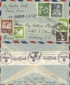 "(Chile) LATI World War II censored airmail cover to Germany, correctly rated 12.40P (see Beith page 41), canc Santiago cds, black  ""Via CONDOR-LATI"" hs, ms ""Via Condor-LATI/Correo Aereo"", purple on white code e (Frankfurt) OKW censor tape,  tied by black circular eagle and swastika censor mark, grey airmail envelope."