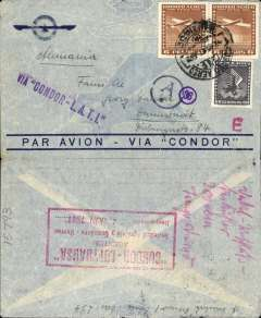 "(Chile) LATI World War II censored airmail cover to Germany, ""Via Condor"" airmail envelope with winged logo and verso large red boxed 'Condor-Lufthansa' agency hs, correctly rated 12.60P (see Beith page 41), canc Santiago cds, violet ""Via CONDOR-LATI"" hs, blue circular ""Ad"" (Munich) censor mark indicating mail, though not opened, had passed through the censorship system."