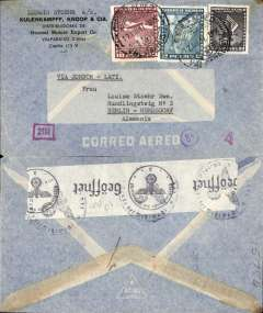 "(Chile) LATI World War II censored airmail cover from Valparaiso to Louise Stoehr, Berlin-Hermsdorf, via Santiago 10/12, correctly rated 12.60P (see Beith page 41), typed ""Via Condor LATI"", black on white OKW, code d (Munich) censor tape, tied by black circular eagle and swastika censor mark, grey airmail envelope."