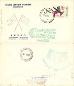 (Argentina) Special flight, Buenos Aires-Montevideo, to commemorate the 1st River Plate Philatelic Congress, printed souvenir cover, special flight cachet, b/s.