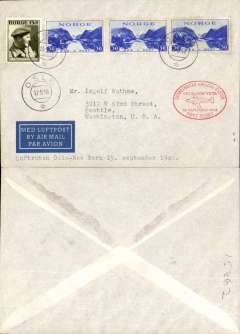 (Norway) SAS F/F Oslo to New York, red oval cachet, official printed card.