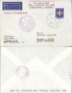 (Germany) First acceptance of East Germany mail for KLM F/F Amsterdam-Moscow, cachet, b/s.