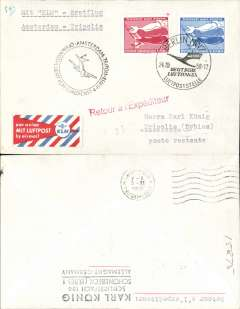 (Germany) First acceptance of East Germany mail for KLM F/F Amsterdam-Tripoli, cachet, b/s, attractive red/white/blue company vignette.