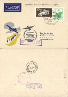 (Germany) First acceptance of East Germany mail for Sabena F/F Brussels-Glasgow, cachet, b/s, souvenir cover.