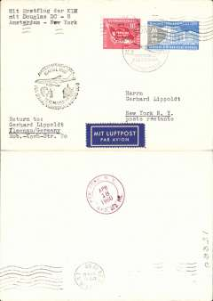 (Germany) First acceptance of East Germany mail for Sabena DC8 F/F Brussels-New York, cachet, b/s.