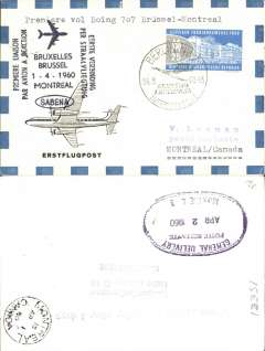 (Germany) First acceptance of East Germany mail for Sabena B707 F/F Brussels-Montreal, cachet, b/s, souvenir cover.