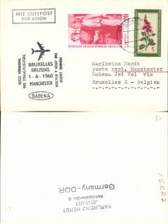 (Germany) First acceptance of East Germany mail for Sabena F/F Brussels-Manchester, cachet,  souvenir card.