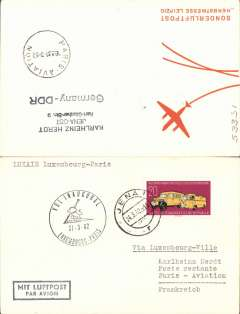 (Germany) First acceptance of East Germany mail for Luxair F/F Luxembourg-Paris, cachet, b/s.