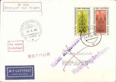 (Germany) Acceptance of East Germany mail for SAS Midnight Sun flight Stockholm-Kiruna, cachet, b/s.
