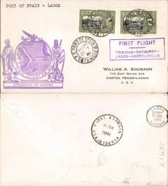 (Trinidad) Pan Am clipper service to Africa, F/F FAM 22, Port of Spain to Lagos, large purple cachet, b/s. This srategically important service, linking Africa and the USA, opened just at the critical time when Japan attacked Pearl Harbour and the USA went to war.