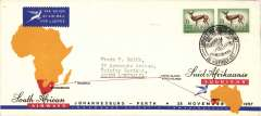 (South Africa) SAA first regular service Jo'burg to Perth, b/s, printed souvenir cover 20x10cm, special postmark.