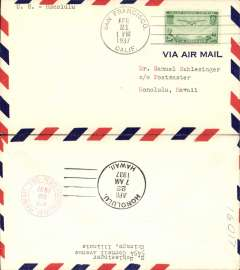 (United States) Trans Pacific 'China Clipper', Pan Am F/F FAM 14 flown at new reducd 20c rate, San Francisco to Honolulu, cachet, b/s, unlisted.