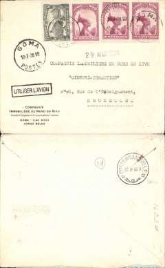 (Belgian Congo) Commercial flown cover Goma, Nr Lake Kuvu, to Belgium, via Costermansville 20/7, printed 'Compagnie Immobiliere du Nord du Kivu' company cover, black boxed 'Utiliser L'Avion' hs, correctly rated 2.40F.
