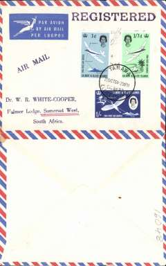 """(Gilbert & Ellice Islands) Imprint etiquette air cover to South Africa, no arrival ds, franked First Service set of 3, canc Tarawa/Gilbert&Ellis Islands cds, black """"By Air Mail/Par Avion"""" cachet. Uncommon origin."""