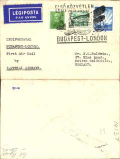 (Hungary) F/F, Budapest to London, special depart cachets/ds, etiquette rated scarce by Mair, plain card.