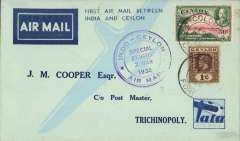 "(Ceylon) TATA special Christmas flight, Colombo-Trichinopoly, bs 24/12, purple circular cachet, b/s, blue/pale blue TATA souvenir ""map"" cover."