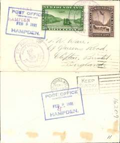 (Newfoundland) Sullivan flight, F/F St Johns to Hampden, boxed blue Hampden 9/2 arrival ds cachet on front and verso, violet circular flight cachet, plain cover, franked 15c and 50c air, AAMC FF-37.
