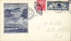 """(Ship to Shore) Schildauer's attempted ship to shore flight from Staten Island to SS Leviathan, Roessler Lindbergh 'Spirit of St Louis' cover, franked C10 and 2c, 12c canc NYGrand Central duplex, verso black """"Air Mail Flight Failed To/SS Leviathan"""" cachet, bs Varick St Aug 22nd."""