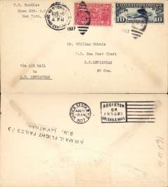 """(Ship to Shore) Schildauer's attempted ship to shore flight from Staten Island to SS Leviathan, franked 12c canc NY duplex, typed 'Via Air Mail/to SS Leviathan', verso black """"Air Mail Flight Failed To/SS Leviathan"""" cachet."""