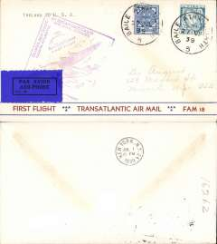 (Ireland) Pan Am FAM 18 F/F Foynes-New York, b/s, Foynes purple departue cachet on front, uncommon 'First Flight/Tansatlantic Air Mail/Fam 18' bottom printing and stripe souvenir cover prepared by Leo August